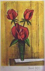 ベルナール・ビュッフェ「3本の赤い薔薇」版画50×33cm