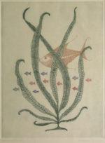 南桂子「赤い魚」銅版画37.8×28cm
