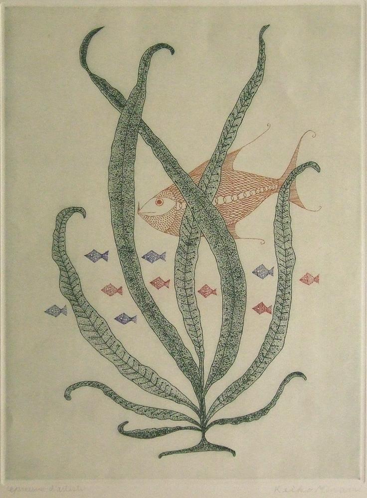 南桂子「赤い魚」銅版画