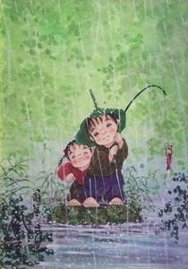 開田風童「雨にも負けず」水彩