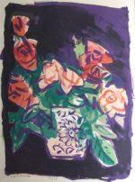 中川一政「薔薇」リトグラフ 57×42.5cm