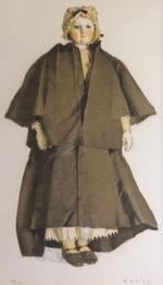 小磯良平「黒いマントの人形」リトグラフ42×28cm