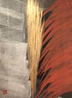篠田桃紅「星霜 ELAPSE」日本画・金箔40×30cm