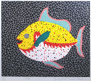 草間彌生「魚」版画