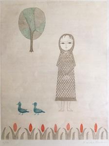 南桂子「少女と青い鳥」銅版画