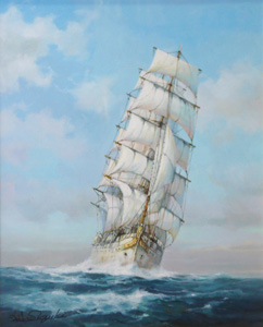 鈴木政輝「帆船」油彩