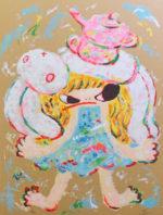 ロッカクアヤコ「早生まれ行進曲(1)」版画59.5×44.5cm
