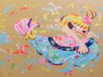 ロッカクアヤコ「早生まれ行進曲(2)」版画44.5×59.5cm