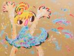 ロッカクアヤコ「早生まれ行進曲(4)」版画44.5×59.5cm
