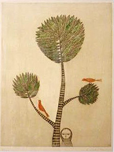 南桂子「木と少女」銅版画