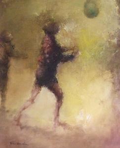 平野遼「子供と風船」油彩