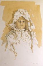 小磯良平「レースの帽子の人形」リトグラフ42×31cm