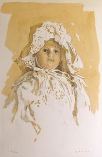 小磯良平「レースの帽子の人形」版画