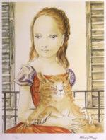 藤田嗣治「窓の前の少女と猫」リトグラフ33×26cm