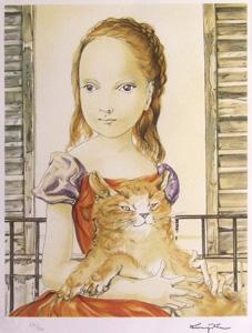藤田嗣治「窓の前の少女と猫」