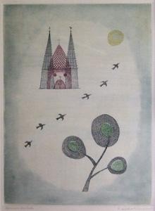 南桂子「街と6羽の飛ぶ鳥」