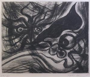 岡本太郎「眼と眼」銅版画