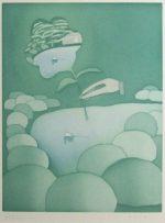 ジャン・ミシェル・フォロン「日本の庭」銅版画 39×30cm