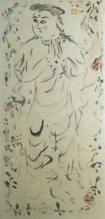 棟方志功「御妃尊図(2)」水彩 79×38cm