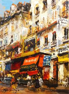 山本彪一「パリの裏通り」油彩
