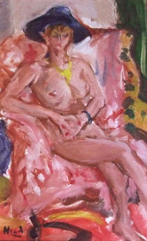 原精一「帽子の裸婦」油彩
