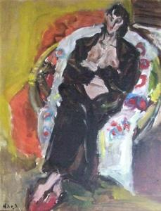 原精一「黒いガウンの裸婦」油彩