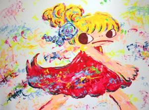 ロッカクアヤコ「赤い服の女の子」リトグラフ