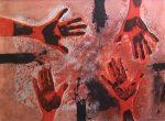 ルフィーノ・タマヨ「赤い手」銅版画56×76cm