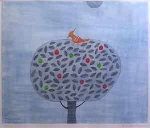 南桂子「りんごの木」銅版画