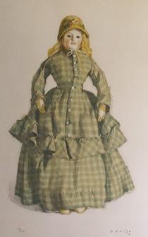 小磯良平「格子縞のロブの人形」版画