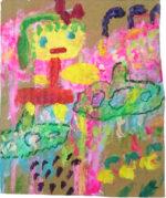 ロッカクアヤコ「女の子」アクリル絵具19.5×16cm