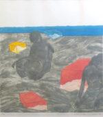 池田満寿夫「海辺の午後」銅版画43×43.5cm