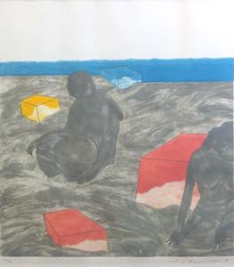 池田満寿夫「海辺の午後」銅版画