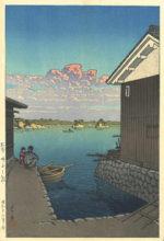 川瀬巴水「備前 呼子の朝」木版画36.5×24.2cm