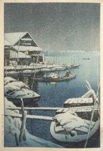 川瀬巴水「雪の向島」木版画36×23.5cm