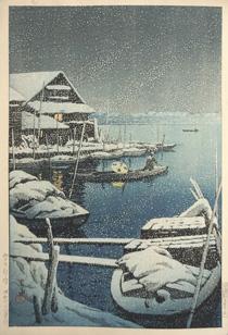 川瀬巴水「雪の向島」木版画