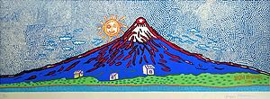 草間彌生「七色の富士(青)」木版画
