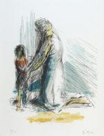 森芳雄「母子像」版画リトグラフ40×31cm