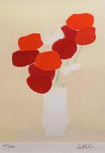 ベルナール・カトラン「赤と白のブーケ」版画30.5×22.2cm