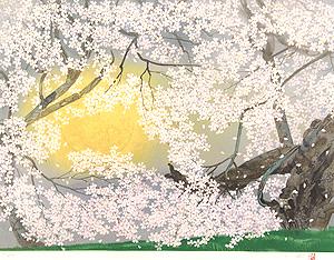 中島千波「臥龍の桜」版画