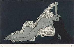 加山又造「白衣をまとう女」銅版画