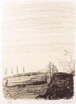 香月泰男「北見(北海道)」リトグラフ35×26cm