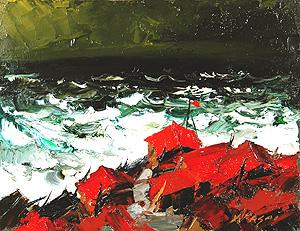 葛西四雄「北の海」油彩