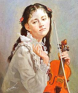 奥龍之介「小鳥と少女」油彩