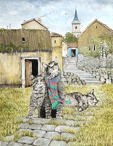 井上覚造「猫」油彩