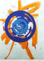 白髪一雄「オレンジの中の円」版画84.5×65cm