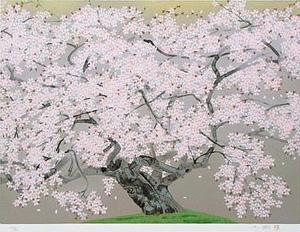 中島千波「春麗山桜」版画