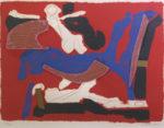 マリノ・マリーニ「馬と人」リトグラフ36.5×49cm