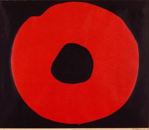 吉原治良「黒地に赤い円」版画