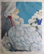 ルイ・イカール「ブルーシンフォニー」銅版画63×53cm